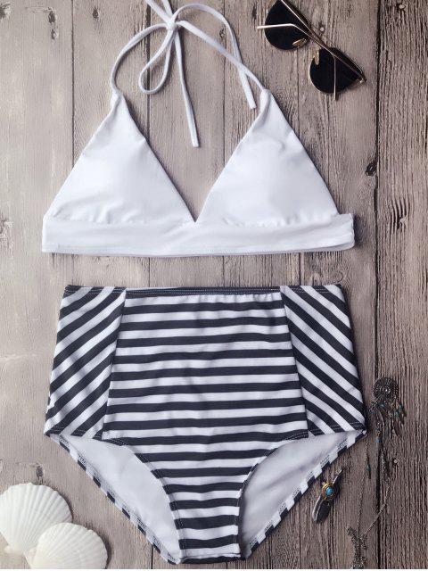 ladies Soft Pad High Waisted Halter Bikini Set - WHITE L Mobile