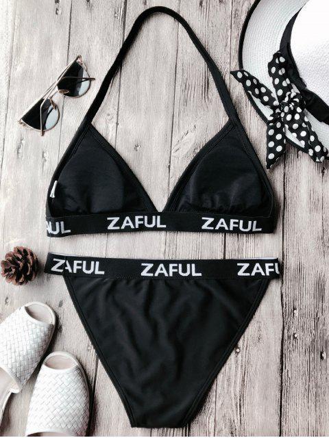 affordable Halter Logo Band Thong Bikini Set - BLACK XL Mobile