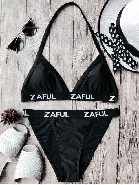 Bikini à bretelles imprimé lettres - Noir S Mobile