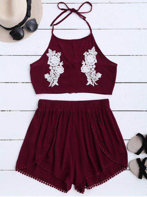 Haut court floral halter en dentelle avec shorts - Rouge vineux  M Mobile