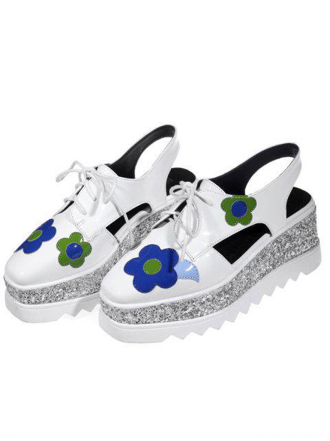 best Flowers Sequins Square Toe Platform Shoes - WHITE 39 Mobile