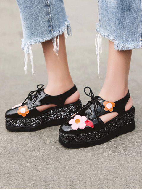 hot Flowers Sequins Square Toe Platform Shoes - BLACK 39 Mobile