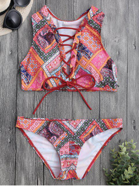 buy Lace Up Paisley Printed Bikini Set - COLORMIX S Mobile