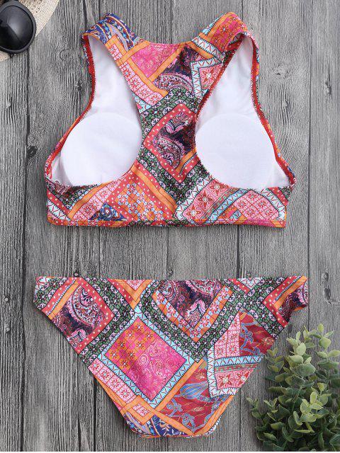 Ensemble de bikini imprimé paisley lacé haut - Multicolore M Mobile