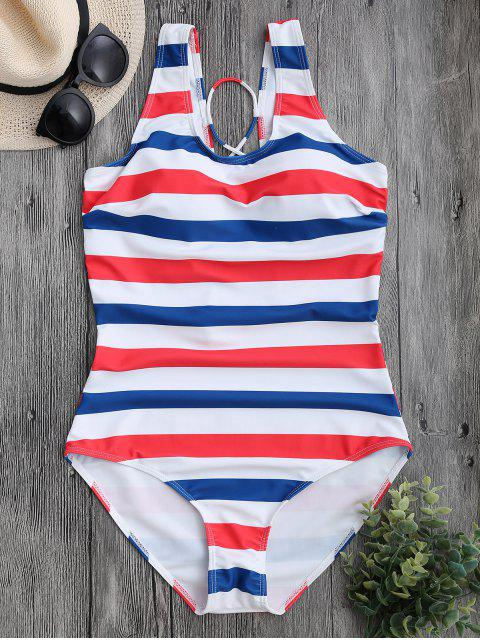 new Striped Back Lace Up Swimwear - STRIPE L Mobile