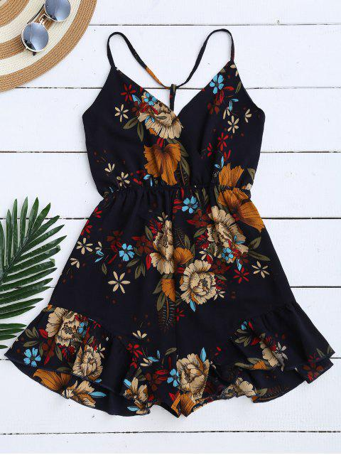 shop Spaghetti Straps Caged Floral Romper - PURPLISH BLUE XL Mobile