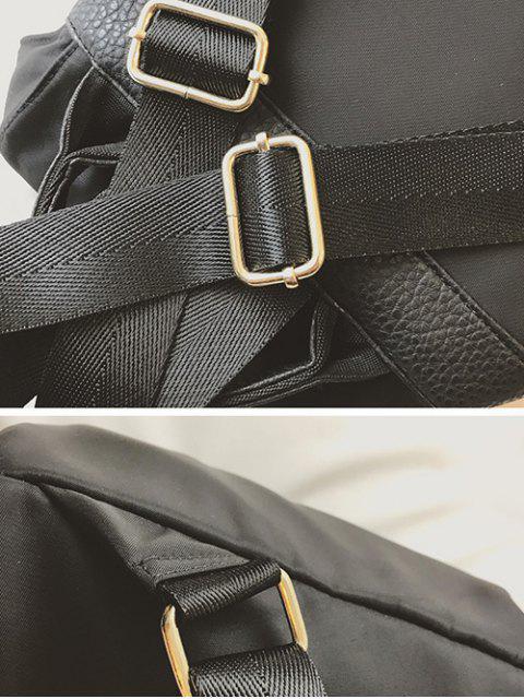 trendy Patches Rivet Nylon Backpack - BLACK  Mobile