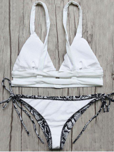 Bikini à col plongeant avec bretelles imprimées de motif de boa - Bleu et Blanc M Mobile