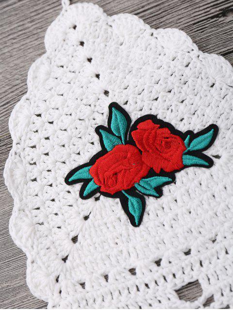 women's Floral Patch Crochet Bikini Crop Top - WHITE ONE SIZE Mobile