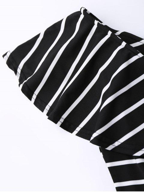 hot Ruffle Striped Off Shoulder Tee - BLACK S Mobile