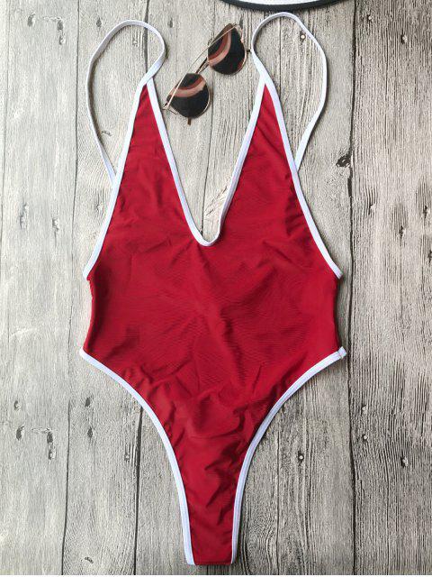Bañador en Una Pieza Escotado con Ribete de Contraste - Rojo M Mobile