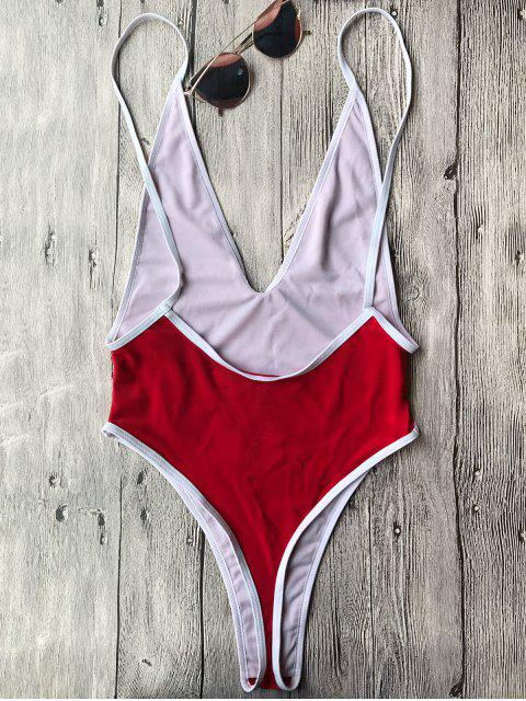 ladies Contrast Piping High Cut One Piece Swimsuit - RED L Mobile