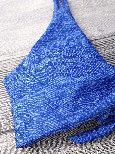 Bikinis bowknot à bretelles - Bleu S Mobile