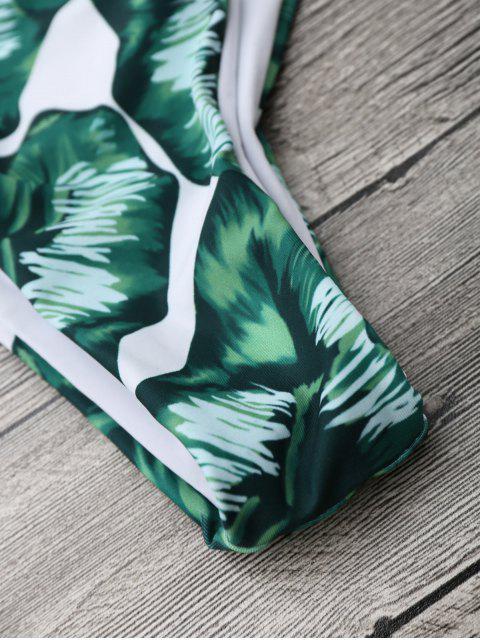 hot Palm Leaf Cami Bralette Bikini Set - PINK AND GREEN M Mobile