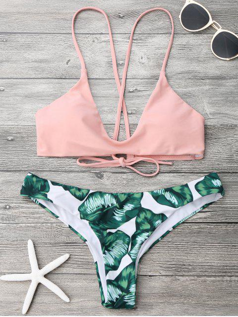 outfit Palm Leaf Cami Bralette Bikini Set - PINK AND GREEN S Mobile