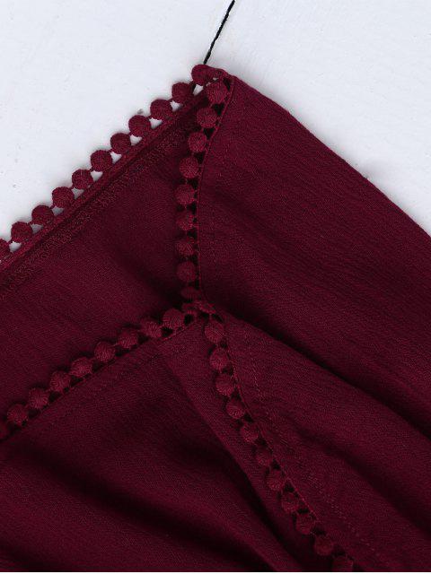Haut court floral halter en dentelle avec shorts - Rouge vineux  L Mobile