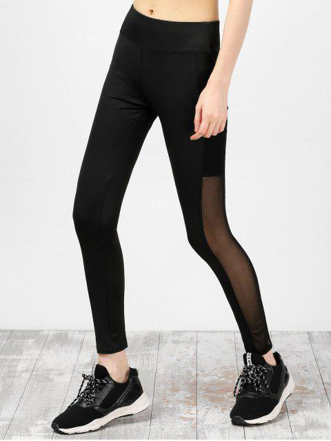 buy Mesh Insert High Waist Running Leggings - BLACK L Mobile
