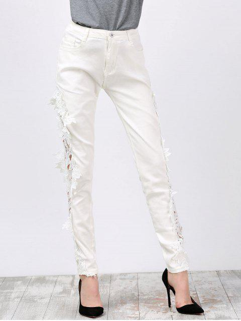 ladies Lace Insert Skinny Denim Pants - WHITE L Mobile