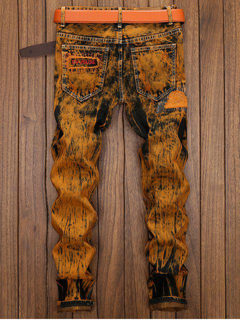 buy Distress Patch Embellished Straight Leg Jeans - EARTHY 32 Mobile