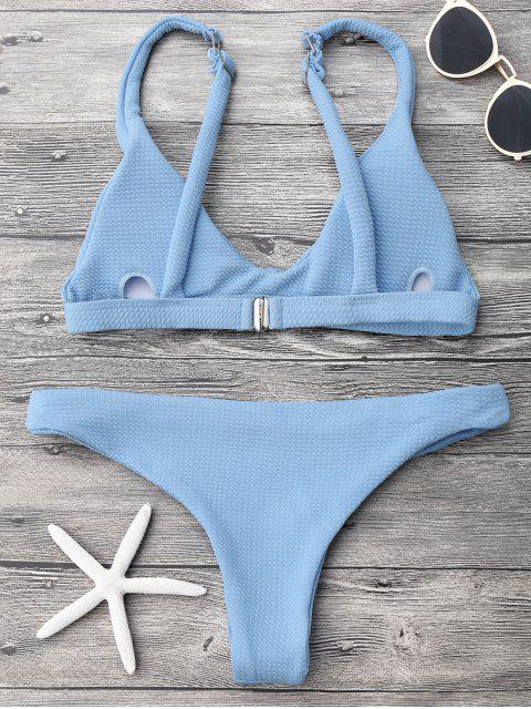 fancy Low Waisted Padded Scoop Bikini Set - LIGHT BLUE L Mobile