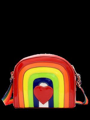 Bolso de cuerpo cruzado de arco iris de cuero de patente