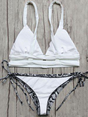 Bikini Diseño Serpiente Cuerdas Top Y Calzones - Azul Y Blanco L