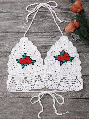 Floral Patch Crochet Bikini Crop Top - Blanc