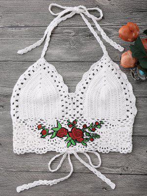 Crochet Bralette Bikini Crop Top - Blanc