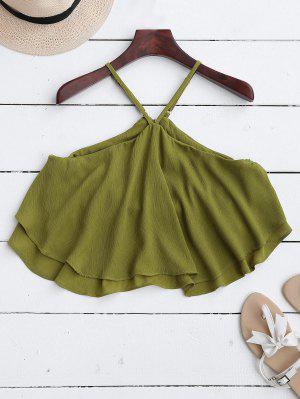 Halter Ruffle Chiffon Crop Top - Green M
