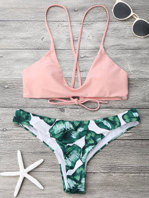 Palm Leaf Cami Bralette Bikini Set - Pink And Green Xl
