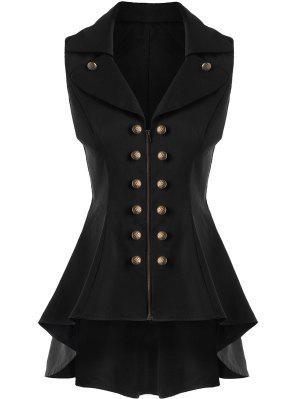 Double Breast Lapel High Low Dressy Waistcoat