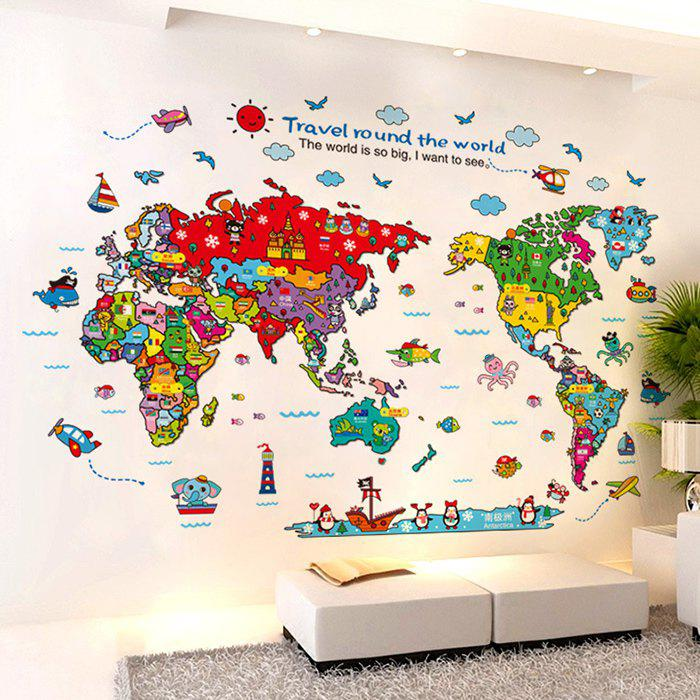 Cartoon The World Map Wall Stickers For Kids 211955401