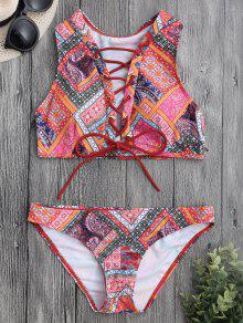 Encaje Hasta Paisley Impreso Conjunto De Bikini - Xl