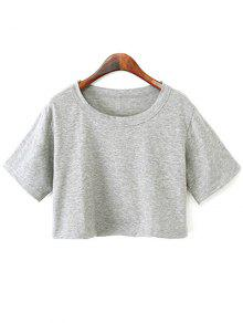 Buy Solid Color Short Sleeve Jersey Crop Top - LIGHT GRAY ONE SIZE