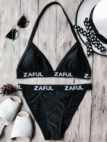 Halter Logo Band Thong Bikini Set - Black S