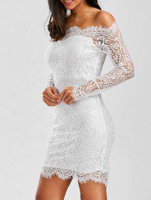 قبالة الكتف صدفي الدانتيل قصيرة فستان الزفاف الصيف - أبيض
