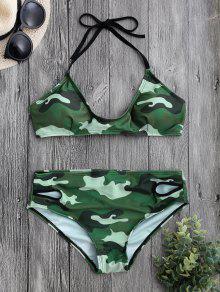 Volver Conjunto De Bikini De Camuflaje Cabestro Halter - Camuflaje L