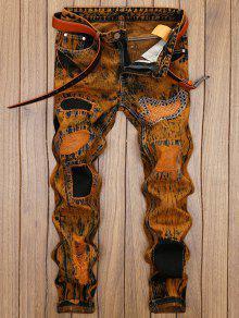 بنطال جينز ممزق ومزين برقع - ترابي 38