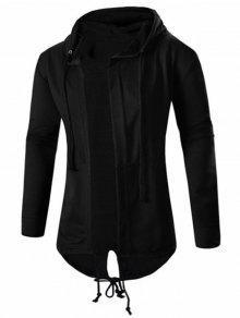معطف عالية انخفاض بقلنسوة مفتوحة الجبهة - أسود Xl