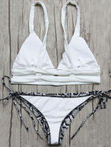 Plunge Bikini Top And Python Print Thong Bottoms - Blue And White S