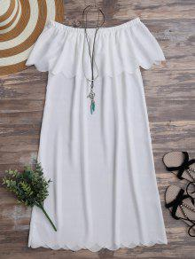 عارضة قبالة الكتف فستان من الشيفون - أبيض L