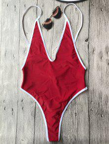 Contrast Piping High Cut One Piece Swimsuit - Red L