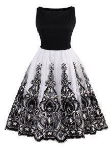 فستان مطرز كلاسيكي توهج - أسود M