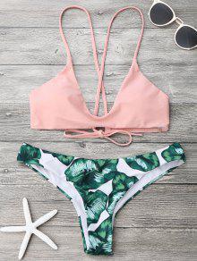 Traje De Bikini Con Estampado De Hoja De Palma Con Brasier De Tirantes Finos  - Rosa Y Verde S