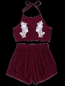 Cierre Halter Cortos Y Del Rojo Pantalones Florales Del Cord Vino M 243;n grg7qwFxn