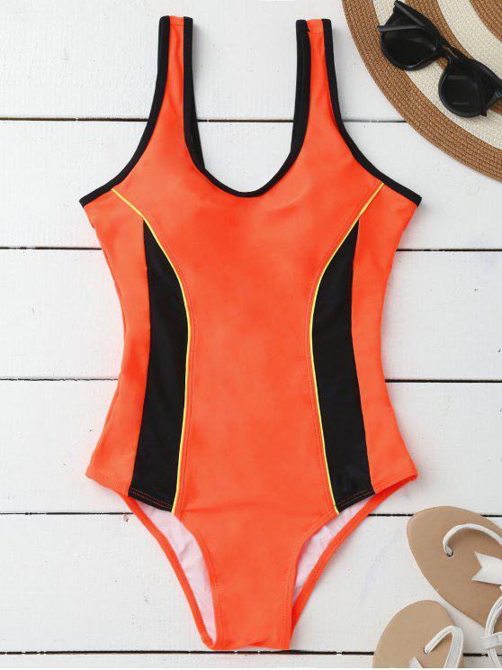 Sporty adelgazamiento acolchado traje de baño de una pieza - Naranja S