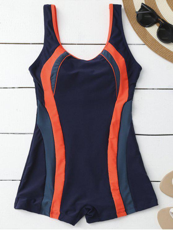 Adelgazamiento acolchada Boyleg One Piece Swimsuit - Azul Purpúreo L