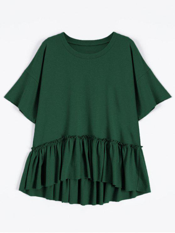 unique Short Sleeve Ruffle Hem T-Shirt - BLACKISH GREEN ONE SIZE