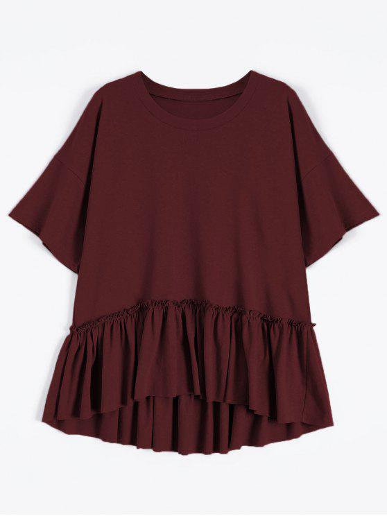 sale Short Sleeve Ruffle Hem T-Shirt - WINE RED ONE SIZE