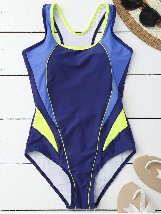 Maillot de bain à une pièce à trois  couleurs à style sportif - Bleu M